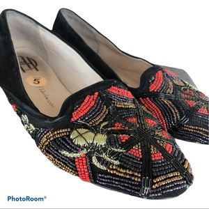 HOUSE OF HARLOW beaded spider slippers loafer flat